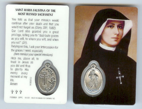 St. Faustina Prayer Card
