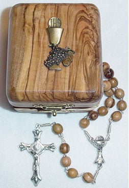 First Communion Olive Wood Rosary - Discount Catholic Store
