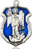 St. Michael Sterling Badge Medal with Blue Epoxy - various sizes