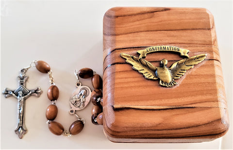 Confirmation Olive Wood Gift Box and Rosary