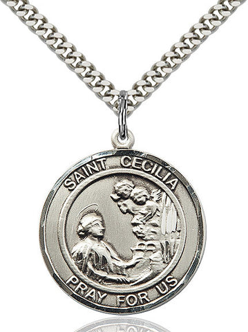 St. Cecilia Medal  Sterling Silver 3/4""