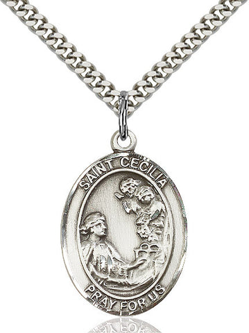 St. Cecilia Medal  Sterling Silver 1""