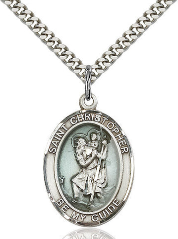 St. Christopher Medal  Sterling Silver 3/4""