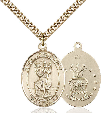 St. Christopher / Air Force Pendant  14kt Gold Filled 1""