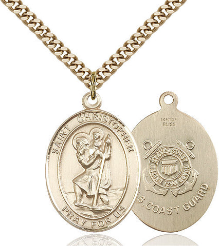 St. Christopher / Coast Guard Pendant  14kt Gold Filled 1""