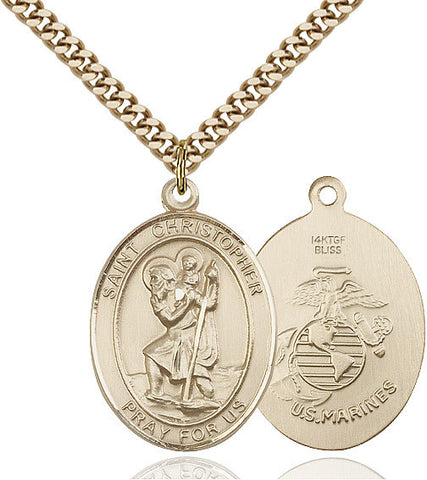 St. Christopher / Marines Pendant  14kt Gold Filled 1""