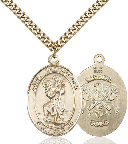 St. Christopher / Nat'l Guard Pendant  14kt Gold Filled 1""