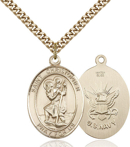 St. Christopher / Navy Pendant  14kt Gold Filled 1""