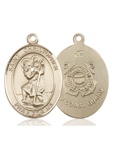 St. Christopher / Coast Guard Pendant  14kt Gold 1""