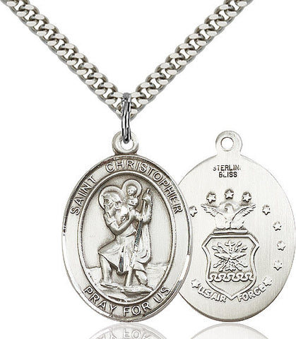 St. Christopher / Air Force Pendant  Sterling Silver 1""