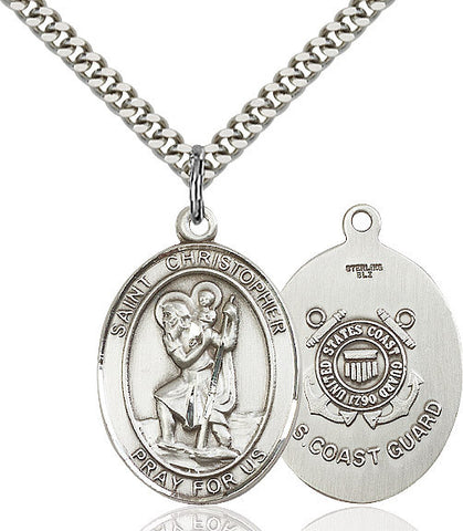 St. Christopher / Coast Guard Pendant  Sterling Silver 1""