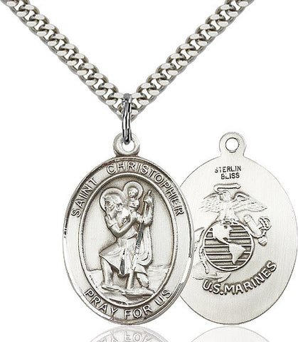 St. Christopher / Marines Pendant  Sterling Silver 1""