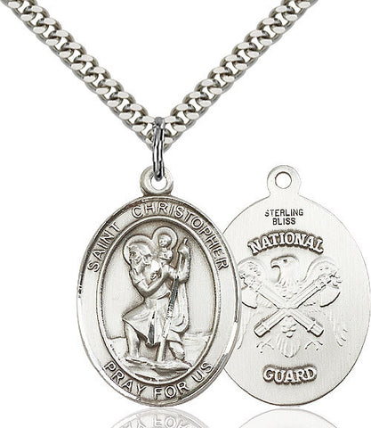 St. Christopher / Nat'l Guard Pendant  Sterling Silver 1""