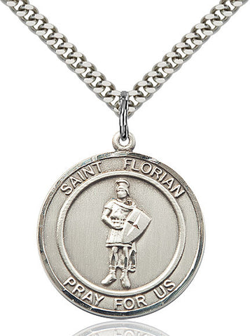 St. Florian Medal  Sterling Silver 1""