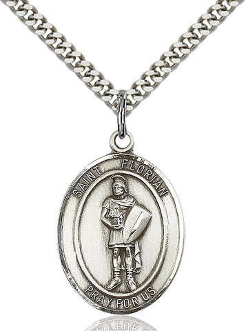 St. Florian Medal  Sterling Silver 3/4""
