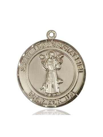 St. Francis of Assisi Medal  14kt Gold 3/4""