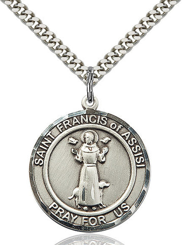 St. Francis of Assisi Medal  Sterling Silver 1""