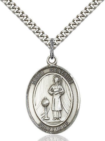 St. Genesius Of Rome Sterling Silver 1""
