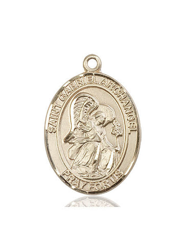 St. Gabriel The Archangel Pendant  14kt Gold 1""