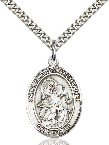 St. Gabriel The Archangel Pendant  Sterling Silver 1""