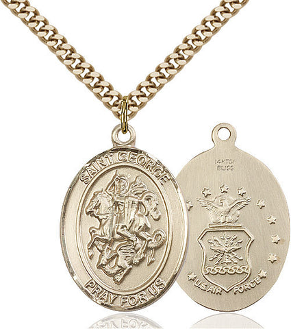 St. George / Air Force Pendant  14kt Gold Filled 1""