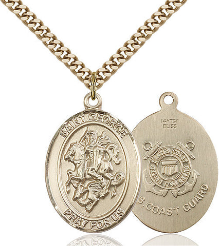 St. George / Coast Guard Pendant  14kt Gold Filled 1""