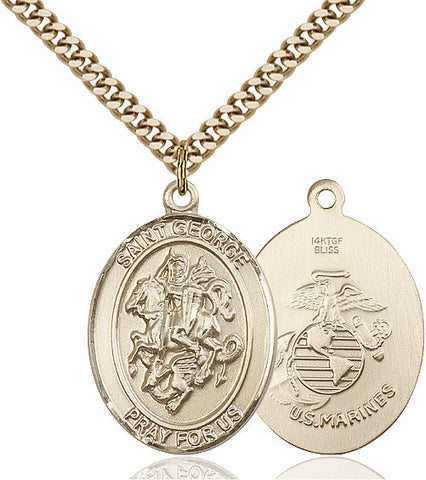 St. George / Marines Pendant  14kt Gold Filled 1""