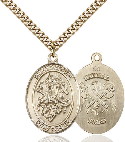 St. George / Nat'l Guard Pendant  14kt Gold Filled 1""