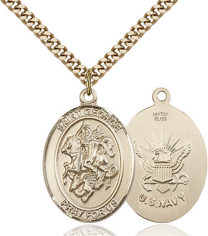 St. George / Navy Pendant  14kt Gold Filled 1""