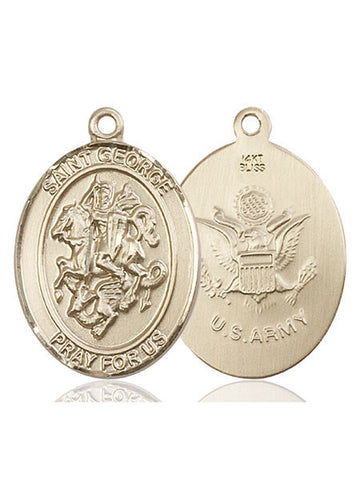 St. George / Army Pendant  14kt Gold 1""