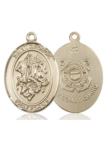 St. George / Coast Guard Pendant  14kt Gold 1""