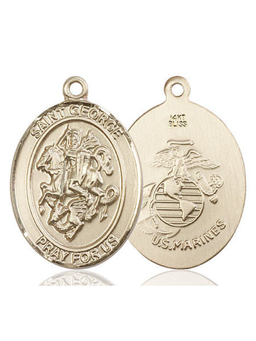 St. George / Marines Pendant  14kt Gold 1""
