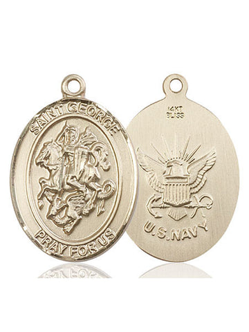 St. George / Navy Pendant  14kt Gold 1""
