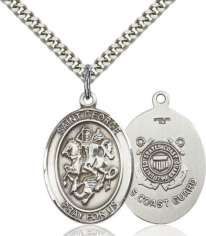 St. George / Coast Guard Pendant  Sterling Silver 1""