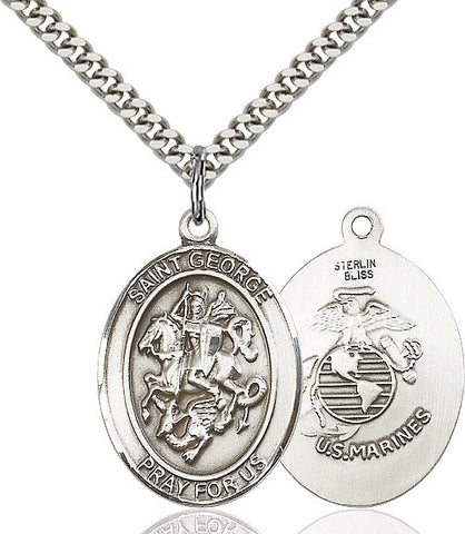 St. George / Marines Pendant  Sterling Silver 1""