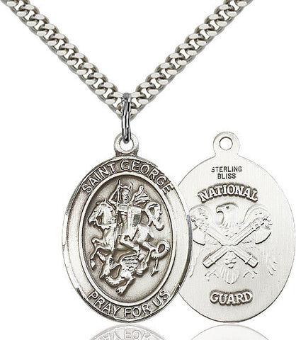 St. George / Nat'l Guard Pendant  Sterling Silver 1""