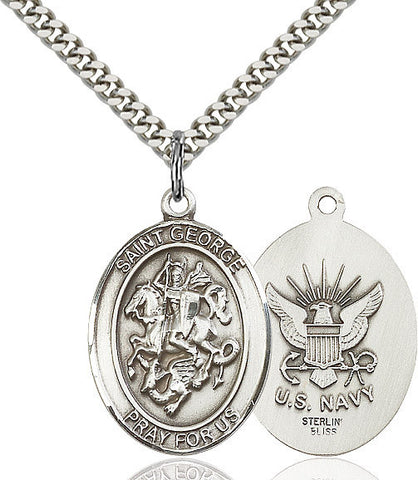 St. George / Navy Pendant  Sterling Silver 1""