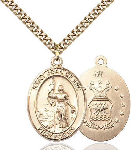 St. Joan Of Arc / Air Force Pendant  14kt Gold Filled 1""