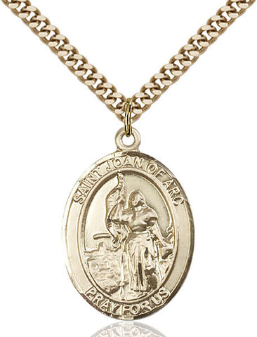 St. Joan Of Arc / Army Pendant  14kt Gold Filled 1""