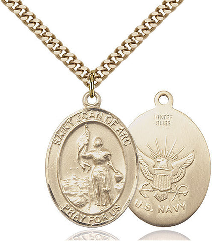 St. Joan Of Arc / Navy Pendant  14kt Gold Filled 1""
