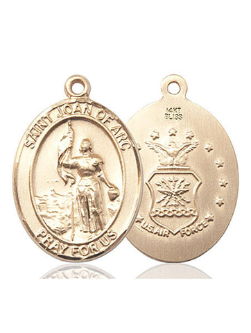St. Joan Of Arc / Air Force Pendant  14kt Gold 1""