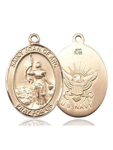 St. Joan Of Arc / Navy Pendant  14kt Gold 1""