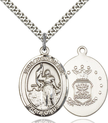 St. Joan Of Arc / Air Force Pendant  Sterling Silver 1""