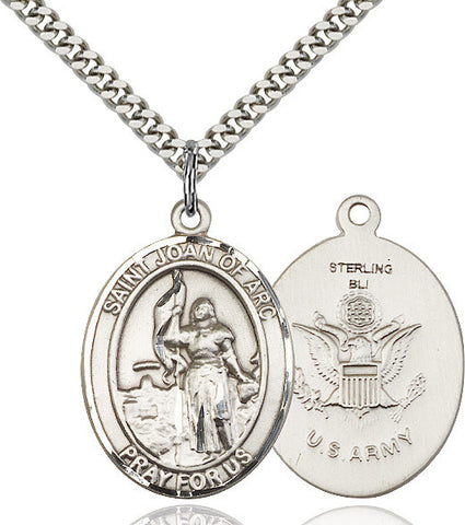 St. Joan Of Arc / Army Pendant  Sterling Silver 1""