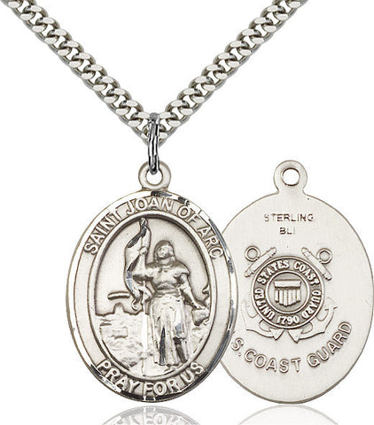 St. Joan Of Arc /coast Guard Pendant  Sterling Silver 1""