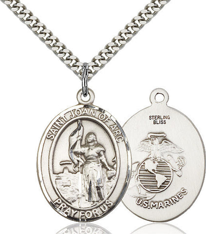 St. Joan Of Arc / Marines Pendant  Sterling Silver 1""