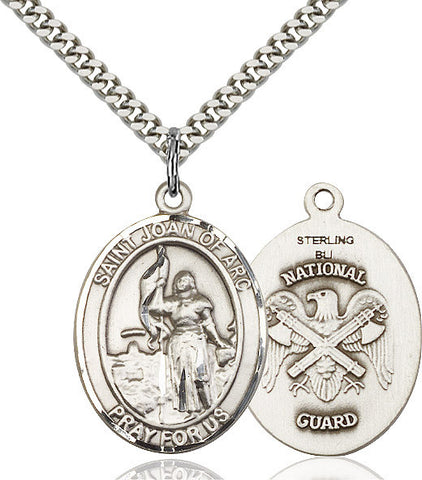 St. Joan Of Arc / Nat'l Guard Pendant  Sterling Silver 1""