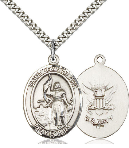 St. Joan Of Arc / Navy Pendant  Sterling Silver 1""