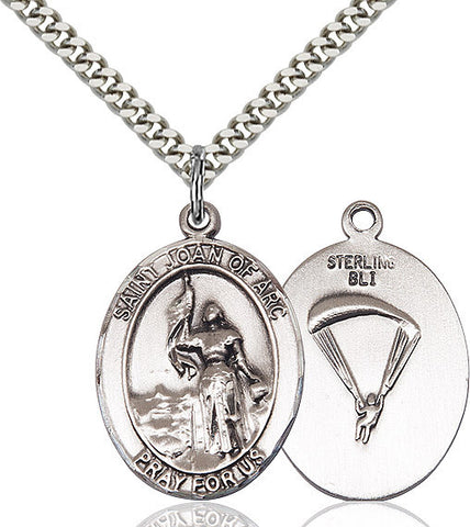 St. Joan Of Arc / Paratrooper Pendant  Sterling Silver 1""