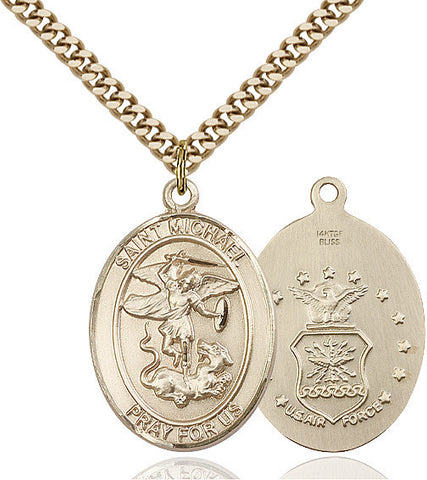 St. Michael / Air Force Pendant  14kt Gold Filled 1""